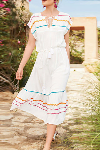 Bohemian V Neck Striped Belted Vacation Dress