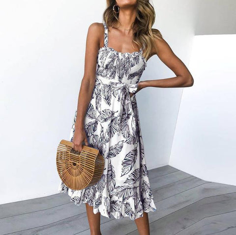 Printed Sling Waist Sexy Vacation  Dress