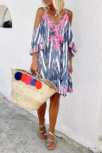 Bohemian Splicing Printed Colour Off-Shoulder Casual Dress