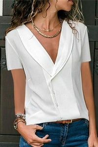 Casual Deep V Collar Short Sleeve T Shirt