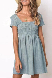Sexy Square Neck Plain Elastic Bust Vacation Mini Dress