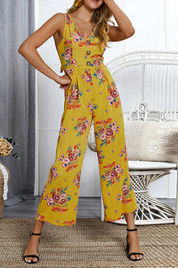 Female European And American V Collar Bohemian Printing Trousers Jumpsuits
