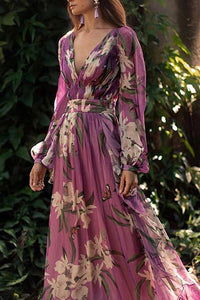 Bohemian Printed Colour V Neck Long Sleeve Pleated Floral Maxi Dress