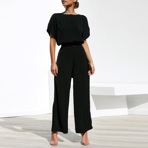 Short-Sleeved Shirt With Waistband Trousers Jumpsuits