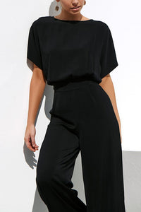Commuting Wide-Leg High-Waist Trousers Short Sleeve Suit Jumpsuits