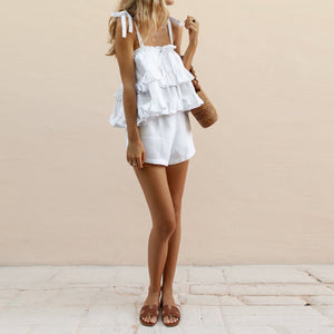 Casual Suit European And American Cotton And Linen Sling Rompers