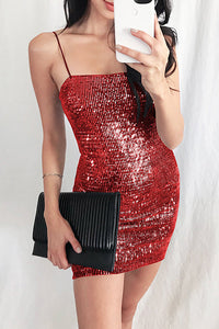 Female Sexy Suspenders Wrapped In Hip Sequins With Short Bodycon Dress