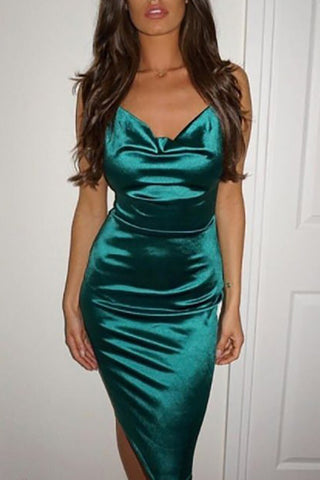 Sexy V Neck Sleeveless Bare Back A-Line Bodycon Dress