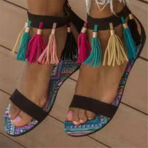 Ethnic Style   Color Tassel Flat Sandals