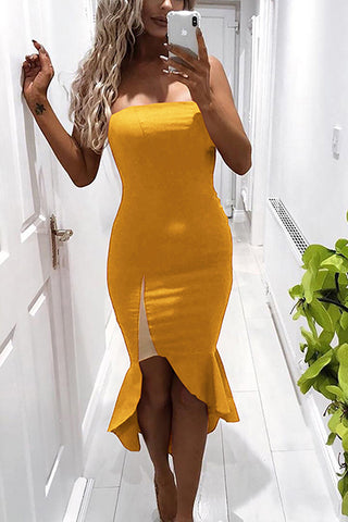 Female Sexy Pure Color Cosmetic Chest Irregular Fishtail Bodycon Dress