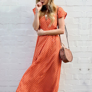 Female European And American Wave Point Printed V-Collar Maxi Dress