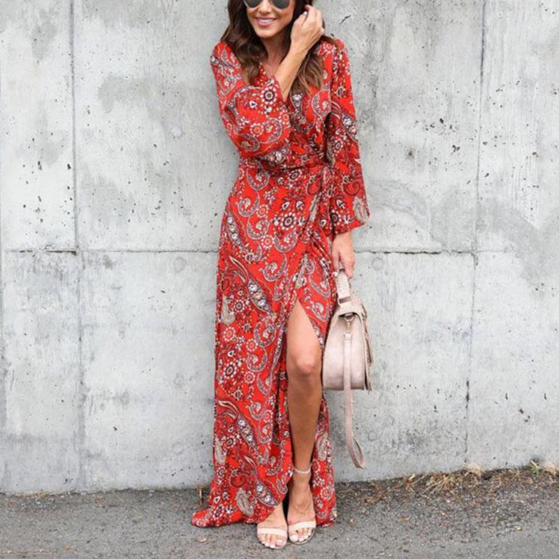 Sexy Bohemian V-Neck Print Chiffon Maxi Dress