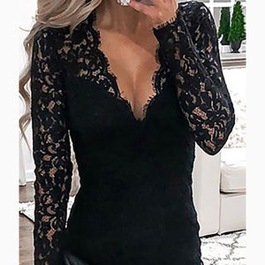 Female Sexy V Collar Lace Splice Halter Vest Trim Bodycon Dress