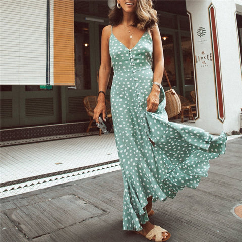 Vacation Polka Dot Printed Bohemia Style Maxi Vacation  Dress