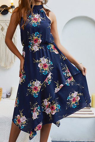Women's Casual Bohemian Printing Vest Sleeveless Floral Dress