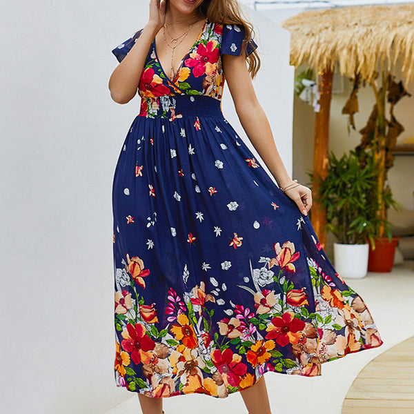 Women's Casual Printing V Leads To Open Slacks Floral Maxi Dress