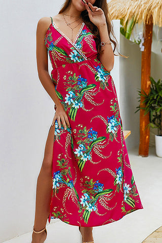 Female Casual V Collar Strap Open Slit Print Maxi Dress