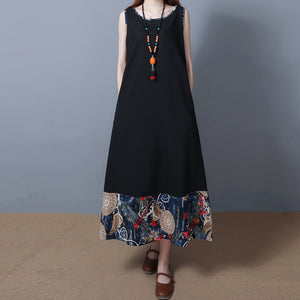 Female National Wind Loose Cotton Vest Long Sleeveless Casual Maxi Dress