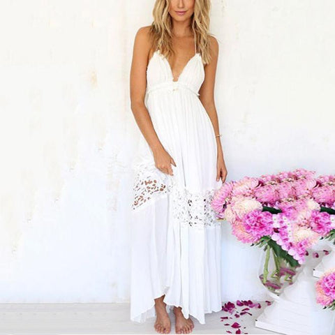 Lace Halter Beach Vacation Dress