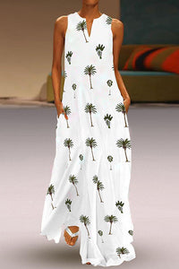 Bohemian V Neck Sleeveless Printed Colour Maxi Dress