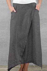 Female Literary Temperament High Waist Pure Color Half-Length Skirt