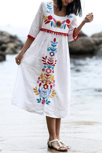 Women's Holiday Wind Heavy Industry Embroidery Loose Cotton And Hemp Vacation Dress