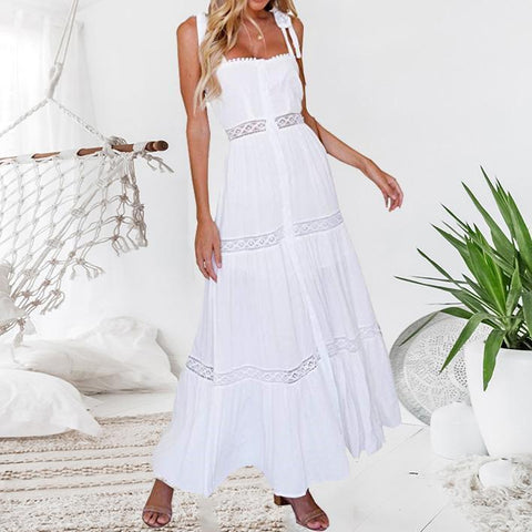 Bohemian Pleated Stitching Lace Openwork Vacation  Dress