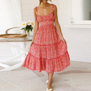 Fashion Sexy Printed Lace-Up U-Neck Halter Strap Maxi Vacation  Dress