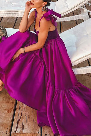 Bohemian Pleated Belted Off-Shoulder Bare Back Splicing Maxi Dress