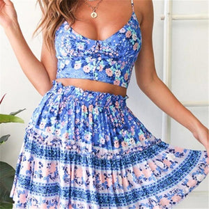Vacation Printed Shoulder Straps Slim Two-Piece Dress