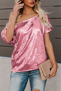 Pure Color Sequins Word Shoulder Short Sleeve Shirt