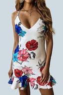 Printed V Collar Leaf Edge Irregular Bodycon Dress