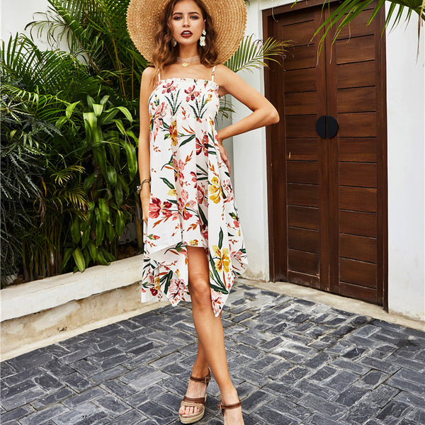 Casual Print Garter Irregular Floral Dress