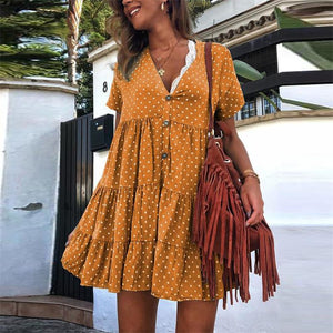 Retro Polka Dot Printed V Collar Wrinkle Loose Mini Dress
