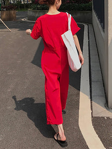Casual V Neck Belted Single-Breasted Pure Colour Jumpsuit