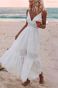 Sexy V Collar Hollow Out Vacation Dress