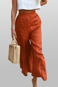 Pure Color Casual Broad Leg Trousers