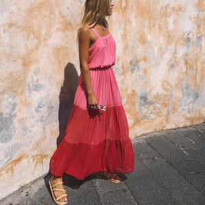 Vacation Shoulder Straps Gradient Beach Maxi Vacation  Dress
