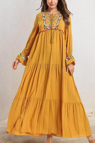 Embroidered Multi-Layer Pleated Casual Dress