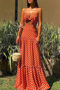 V-Neck Sleeveless Polka Dot Beach Maxi Dress