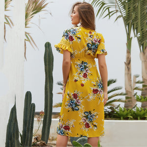 V-Collared Dress Tied To The Chest Vacation Floral Dress