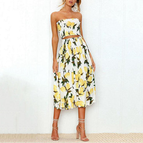 Sexy Off Shoulder Print Wrapped Chest Vest Skirt Two-Piece Suit