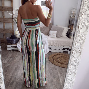Casual Sexy Color Stripe Print Jumpsuits