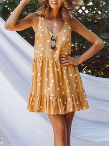 Summer Polka-Dot V-Neck Sleeveless Loose Waist Mini Dress