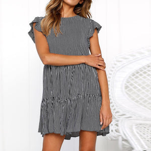 Sexy Striped Pleated Horn Sleeve Mini Dress