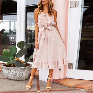 Fashion Lace Stitching Waistless   Sleeveless Ruffled Vacation  Dress