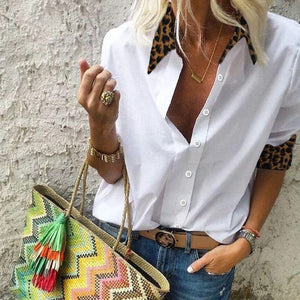 Casual Leopard Patchwork Blouse