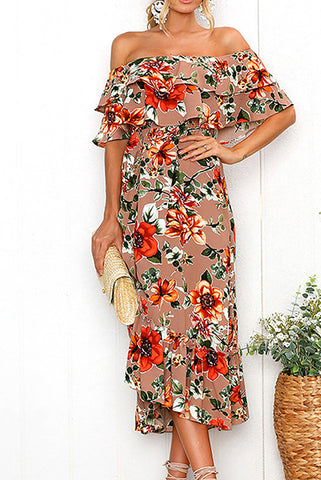 A Long-Shoulder Dress Printed On The Side Of A Lotus Leaf Maxi Dress
