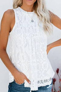 Round Neck Decorative Lace Blouse
