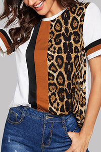 Leisure Leopard Pattern Splicing Short Sleeve T-Shirt